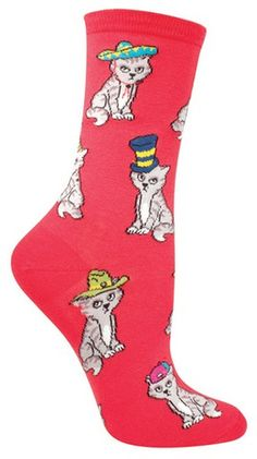 What's cuter that a cat wearing a hat? These crew length cats in hats socks are available in coral. Fits women's shoe size 5-10.