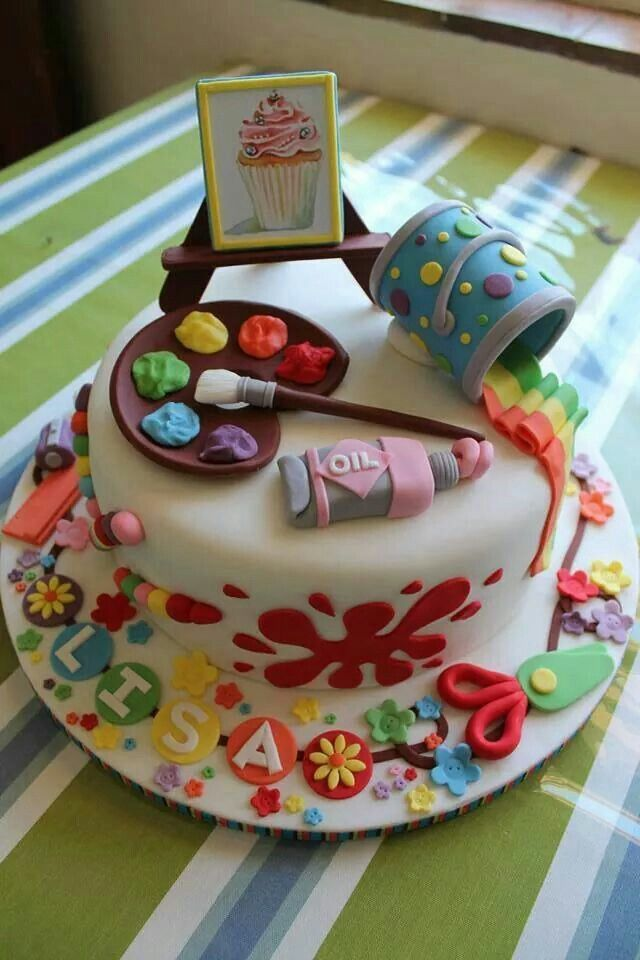 Would be cute for Shelah :-): Creative Cake, Amazing Cakes, Fondant Cake, Cake Ideas, Art Themed Cake, Artists Cake, Art Cakes, Artistic Cake
