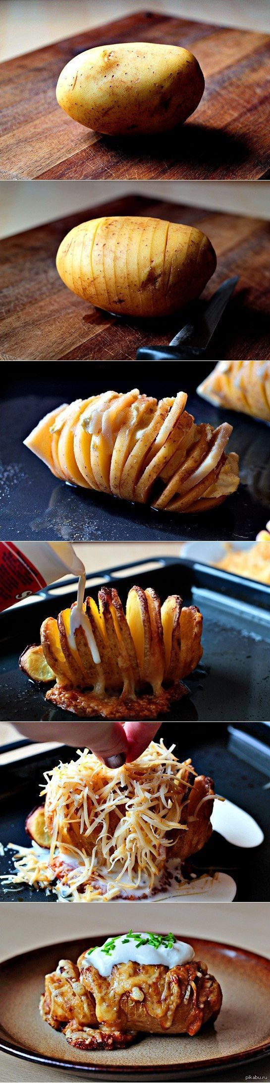 yum.: Baked Potatoes, Food, Perfect Baked, Sliced Baked Potato