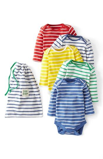 5 Striped Onesies + a cute drawstring bag - cute shower gift for a baby boy.: Babies, Mini Boden, Style, Pack Onesies, Minis, Boden Bodysuit, Baby Boy, Kid