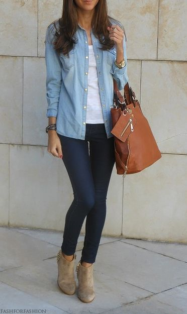 casual #chambray #denim #outfit: Casual Outfit, Denim Shirt Outfit, Style, Chambray Shirts, Denim Shirts, Fall Outfit, Fall Winter