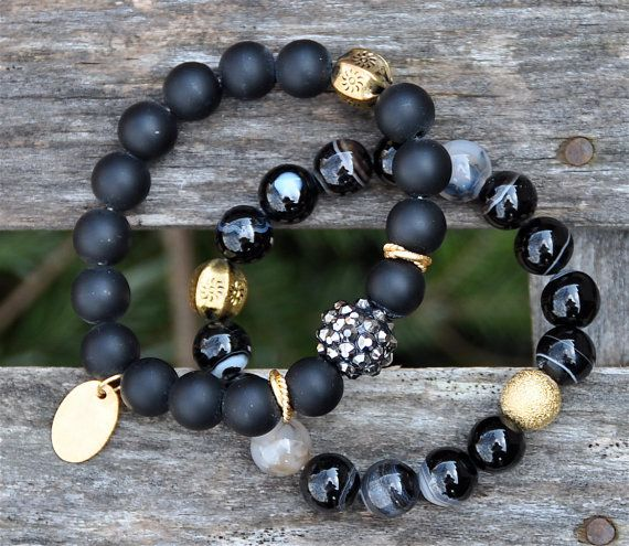 Dramatic Black Gemstone Beaded Bracelets / Handmade by BeadRustic, $60.00: Mens Beaded Bracelet, Gemstone Beaded Bracelet, Beaded Bracelets, Handmade Beaded Bracelet