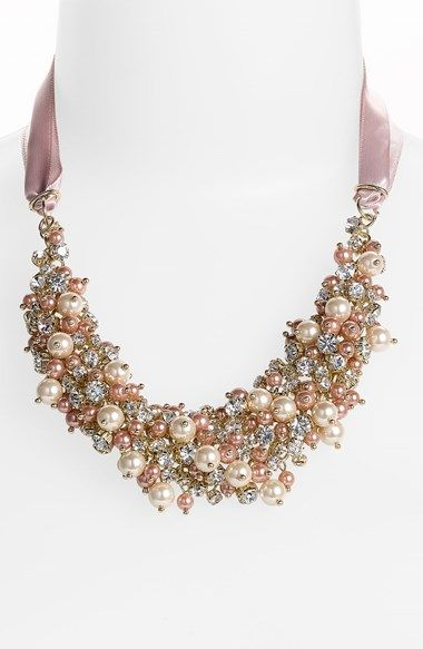 Gorgeous cluster bib with crystals & pearls http://rstyle.me/n/gmqe6n2bn: Pearl, Statement Necklace, Ribbons, Jewelry, Bibs, Bib Necklaces, Melaney Ribbon, Nina Melaney