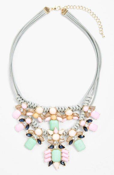Gorgeous pastel hued stones lend vintage elegance to this statement necklace http://rstyle.me/n/ixqahnyg6: Pastel, Fashion, Statement Necklaces, Style, Color, Cara Crystal, Vintage Necklace, Jewels