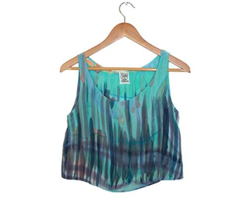 Hand Painted Silk Rain Tank by SAbel made  - Blue Aqua & Purple - Small / Medium: Rain Tank, Etsy, Clothing, Silk Rain, 110 00, Blue Aqua, Painted Silk