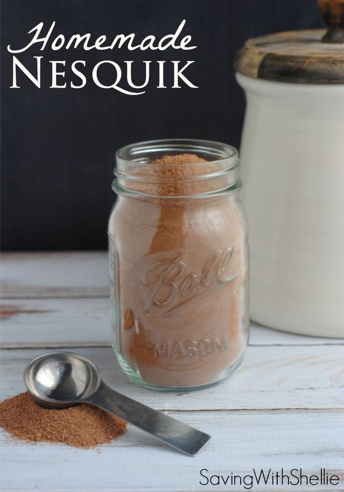 Homemade Nesquik couldn't be easier. Just 3 simple ingredients. Whip up a batch to use for chocolate milk, Cafe Mocha, chocolate cool whip and more!: Chocolate Milk Recipe, Homemade Food, Homemade Mix, Homemade Nesquick, Cafe Mocha, Homemade Nesquik, Simp