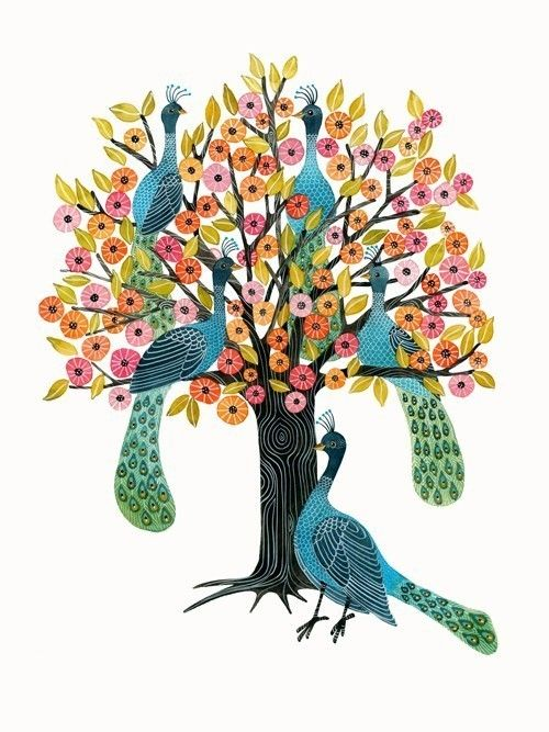 i love you terri! this is my favorite ever !! terri, teach me how to make a quilt with my old dance tshirts !!:): Peacock Art, Watercolor, Peacocks, Illustrations, Geninn To Zlatkis, Trees, Peacock Tree, Birds
