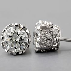I Need these!! Antique Diamond Stud Earrings.
