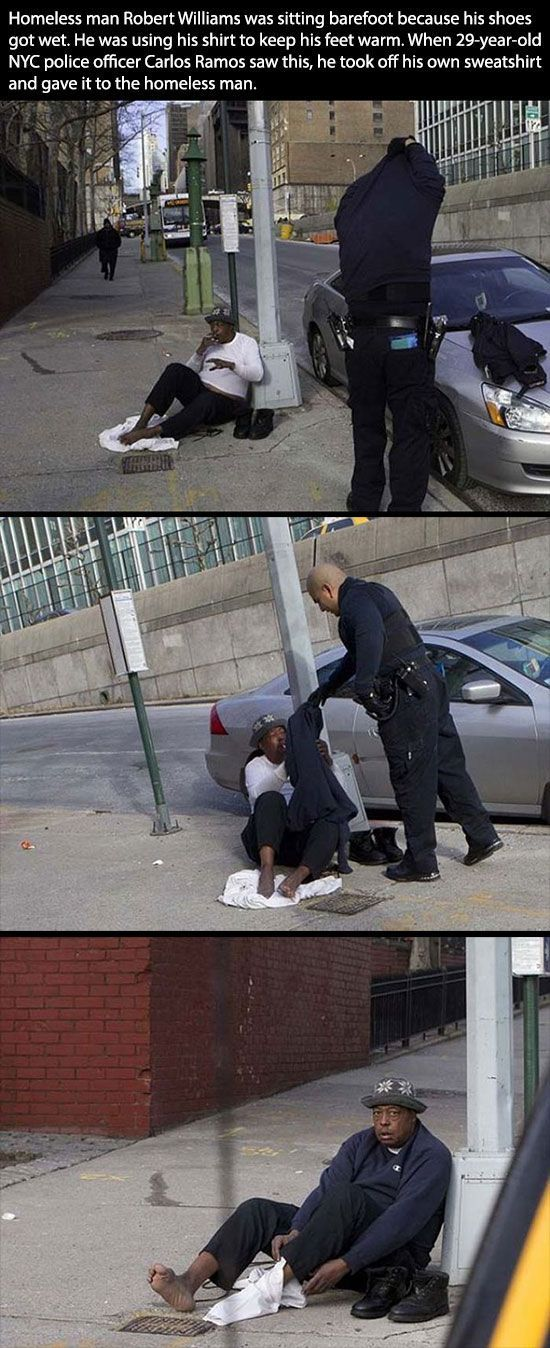 Policeman are our everyday superheroes who are always looking out for the safety of their citizens. This policeman gave his sweatshirt to this homeless guy who was trying to keep his feet warm with a shirt. This policeman gave his sweatshirt to help this