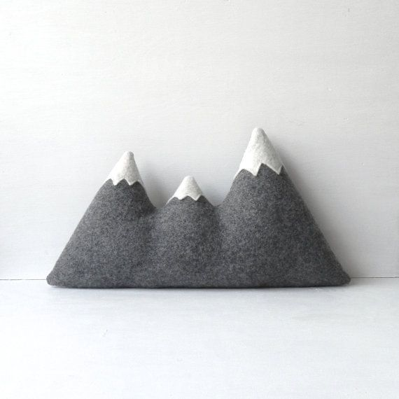 wool mountain range pillow by ThreeBadSeeds on Etsy, $68.00 - I love this but seriously, $70??: Wool Mountain, Sisters, Mountain Range, Mountain Pillow, Range Pillow, Kids Room, Original, Modern Wool, Pillows