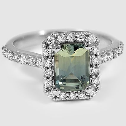 18K White Gold Sapphire Fancy Halo Diamond Ring with Side Stones // Set with a 7.5X5.5mm Emerald Green Sapphire (From Unique Colored Gemstone Gallery): Colored Gemstone, Side Stones, Gemstone Gallery, Center Color, Engagement Ring, Fancy Halo, Diamond Hal