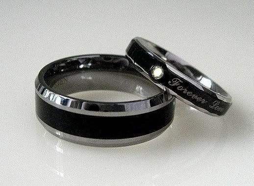 2 pc Black TITANIUM and Stainless Steel Wedding by WeddingRingSets, $32.05: Wedding Ideas, Weddings, Wedding Bands, Wedding Rings, Engagement Ring, Black, Stainless Steel, Promise Rings