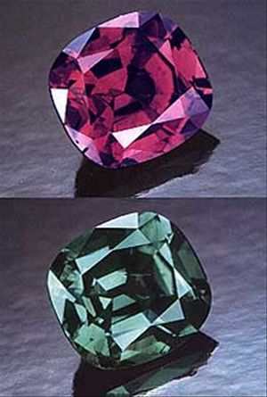 Alexandrite - This stone can undergo a dramatic shift in colour depending on the type of light it is viewed in. A variety of Chrysoberyl, alexandrite belongs to the same family as the emerald.: Rare Gemstone, Precious Stones, Gemstone Meaning, Gemstones J