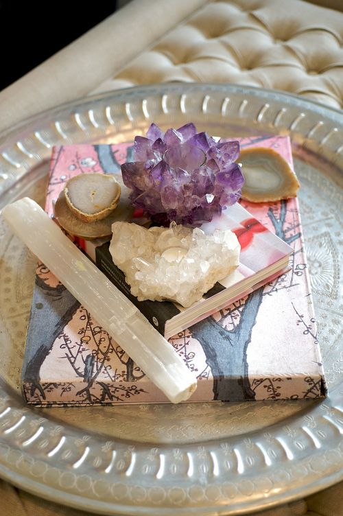 Colorful gemstones can be found throughout Erin Fetherston's home. (Photography: Carol Dronsfield): Interior, Crystals Minerals Gemstones, Coffee Table, Colorful Gemstones, Beautiful Gemstones, Blog, Gemstones Decor, Homes, Healing Gemstones