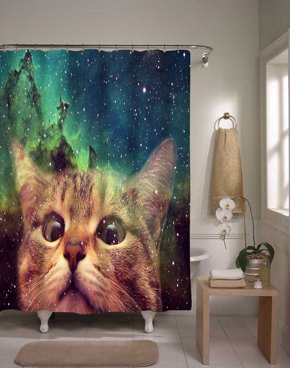 Epic Space Cat Shower Curtain Cat In Space by xOnceUponADesignx: Cats, Cat Shower, Curtain Cat, Tabby Cat, Spacecat, Space Cat, Epic Space, Shower Curtains, Bathroom