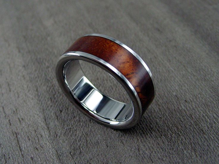 For him, one day. Koa Wood and Titanium Wedding Ring -- Wide Centered Stripe: