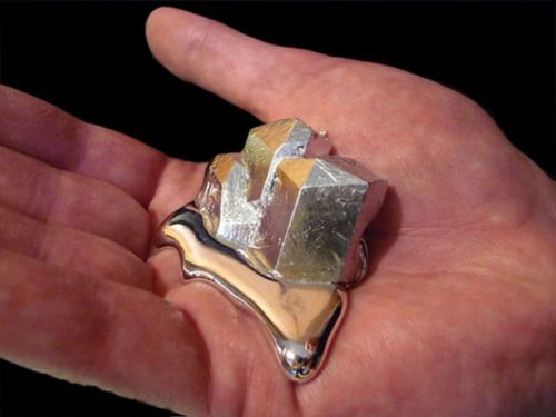 Gallium || Ga    This element is so interesting. It has a melting temperature of about 85 degrees Fahrenheit, which is basically room temperature. If you hold this metal it will begin to melt in your hand.: Stuff, Gift Ideas, Hands, Metals, Science