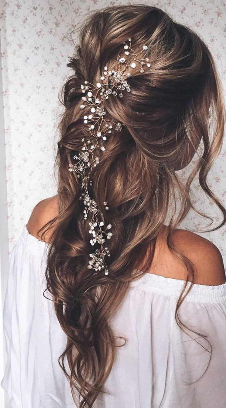 haf up half down wavy wedding hairstyle with hair accessories: Down Hairstyle, Down Wedding Hairstyle, Hair Style, Hair Adornment, Hair Color