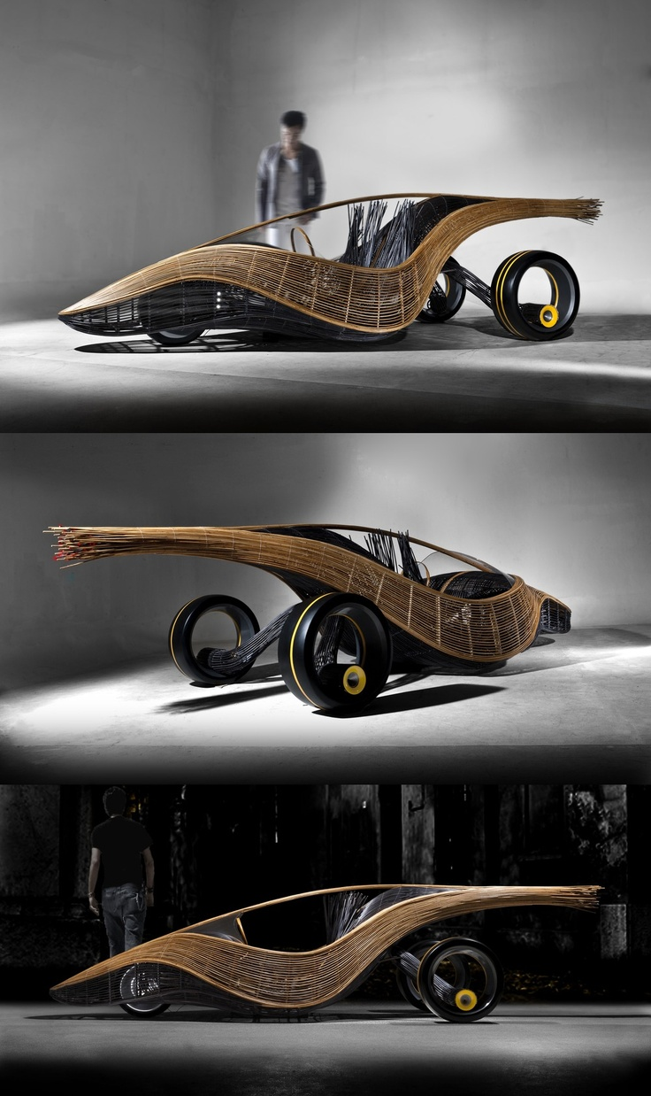 Kenneth Cobonpue's Phoenix roadster, a biodegradable concept car made from bamboo, rattan, steel and nylon: Cars 00, Cars Motorcycle Transportation, Cars Mia, Concept Cars