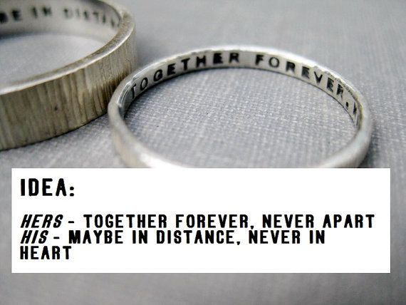 Quote Idea - Love Rings, His n Hers, Promise Rings, Wedding Rings, Anniversary Rings, Personalized, Stamped, Solid Sterling Silver: Anniversary Rings, Wedding Ring Engraving, Wedding Band, Sterling Silver, Band Quote, Wedding Rings, Love Ring, Promise Rin