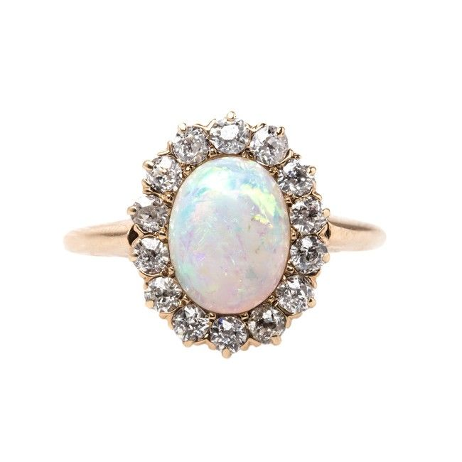 Victorian Opal Engagement Ring with Old Mine Cut Diamond Halo | Lindenwald from Trumpet & Horn | $2,650: Opal And Diamond, Wedding Ring, Cut Diamond, Opal Engagment Ring, Opal Vintage Ring, Diamond Halo, Opal Engagement Rings