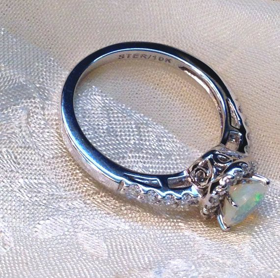 White Opal Ring or Engagement Ring Solitaire by NorthCoastCottage: White Opal Ring, Idea, Engagement Ring Solitaire, Diamond Rings, Unique Engagement Rings Opal, Opal Diamond Engagement Ring, Unique Opal Engagement Rings, Opal Rings Engagement, Rings Enga