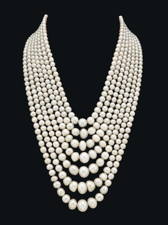 A spectacular seven-strand natural pearl and diamond necklace made of 614 natural saltwater pearls. Photo courtesy of Christie's