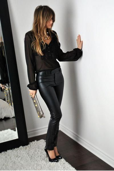 I wish I could wear these. Great outfit for a night out.: Black Leather Pant, Fashion, All Black, Style, Sheer Top, Black Outfit, Leather Pants, Fall Winter, Black Blouse