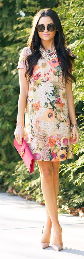 This floral print is gorgeous! If you have a top in a similar floral print, please send it!: Fashion, Style, Tory Burch, Outfit, Pink Peonies, Floral Dresses, Sheath Dresses