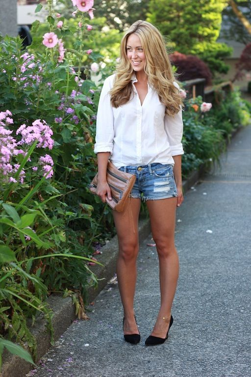 white button down, distressed shorts