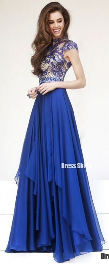 2015 elegant short sleeves beaded modest floor-length Royal Blue chiffon prom dress for teens,ball gown with sequins, homecoming dress, evening dress #promdress #wedding #prom2k15: Sherri Hill, Modest Evening Gown, Chiffon Prom Dress, Short Modest Prom Dr