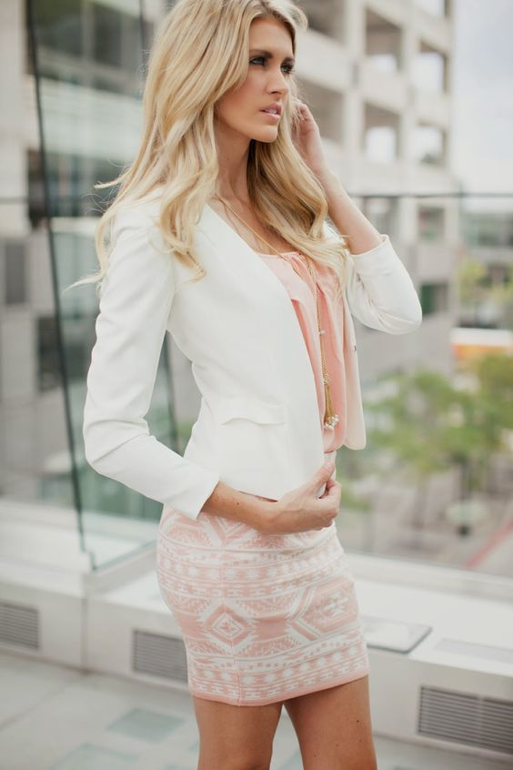After the Sunset Skirt.. <3: White Blazer, Fashion Style, Dress, Street Style, Pink, Work Outfits, Spring Outfit, Business Outfits