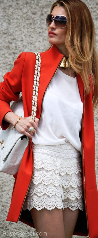 Another way to wear a lace skirt. White tee and long bright jacket or cardi.
