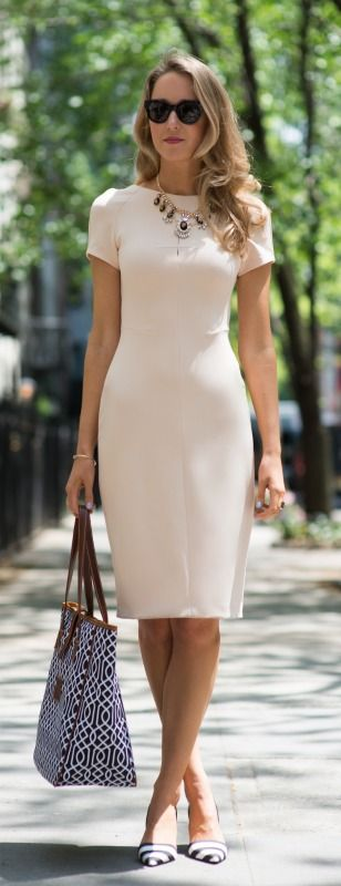black and white accents + nude sheath dress + monogram tote: Summer Dress, Street Style, Dresses, Sheath Dress, White Short, Closet, Work Outfits