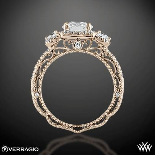 Ring Side View of Verragio Triple Halo 3 Stone Engagement Ring. Put it all in white gold and this is perfect!: Wedding Ring, Side View, Stone Engagement, Ring Side, Verragio Triple, Stones, Engagement Rings