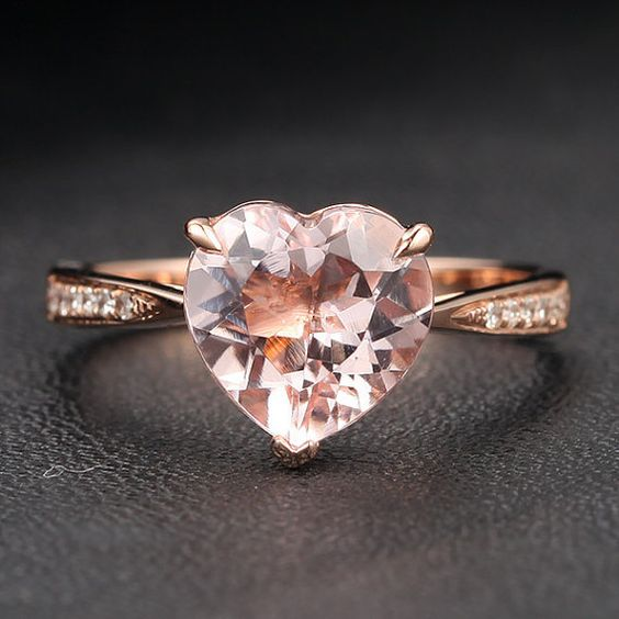 VS 9mm Heart Shaped Morganite Diamonds 14K Rose Gold Claw Prongs Engagement Ring This is pretty much exactly what I want. The diamond doesn't have to be that big, but I want this. Ladies make sure he gets this!
