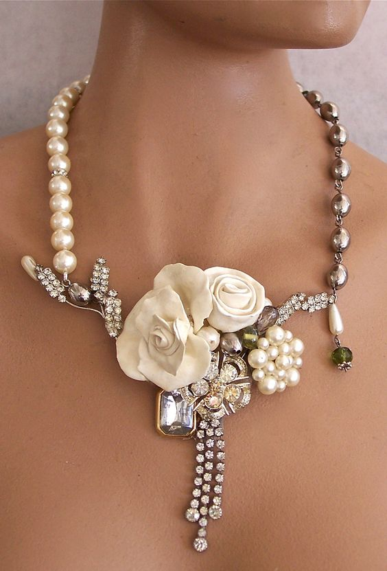 Bridal Necklace Pearls and Rhinestones.   # Pinterest++ for iPad #