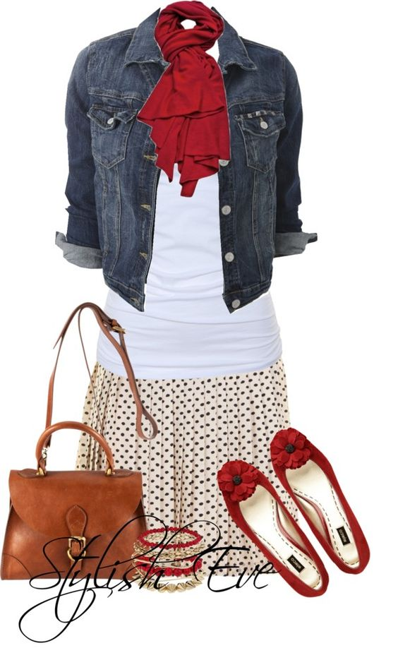 Cute casual weekend look -- my god I think I pair a jean jacket with every skirt tshirt outfit -- love it!!!
