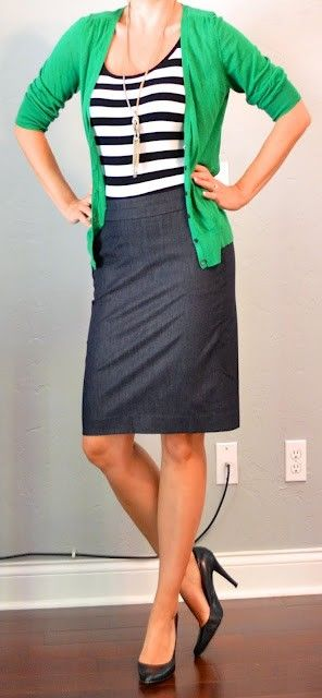 """Great teacher look! Except I don't think I would want to wear heels all day.  """"kelly green cardigan, striped tank, denim pencil skirt"""""""