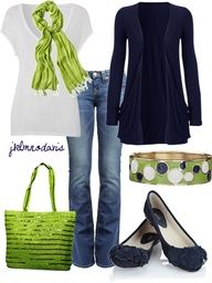 I Love green and navy! Super cute!
