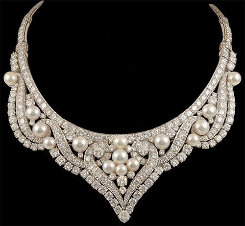 Pearl, Diamond, and Platinum Necklace by David Webb, circa 1960s.
