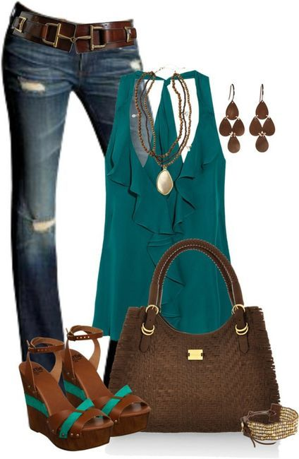 Teal Brown Polyvore Clothes Outift for teens movies girls women . summer fall spring winter outfit ideas dates parties Polyvore :) Catalina Christiano find more women fashion ideas on http://www.misspool.com find more women fashion ideas on www.misspool.c