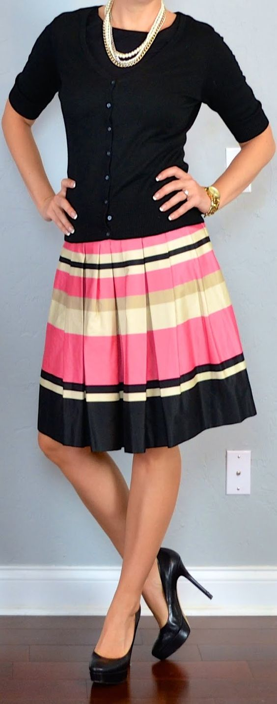 Top: Black cardigan - Old Navy Bottom: Peach striped pleated skirt - H Shoes: Black pumps - Nine West Accessories: Gold, silver, pearl multi-strand necklace - Ann Taylor