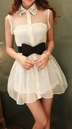 cute dress with collar and black bow belt