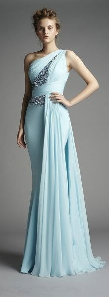 One shoulder dress - cloudy blue teal dress - long dress - formal gown - fitted - jewel embellishments - a new spin on a goddess dress