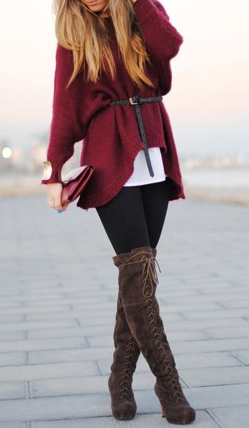 Great Fall combo Belted cardigan, leggings and over the knee boots Women's street style fashion clothing outfit idea