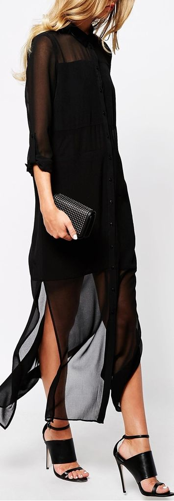 maxi shirtdress - I had a dress like this back in the 1989's but it didn't have the long pieces. I wore the crap out if it.: Black Maxi Dress, Sheer Dress, Long Shirt Dress, Shirtdres, Sheer Outfit, Black Shirt Dress, Black Dress