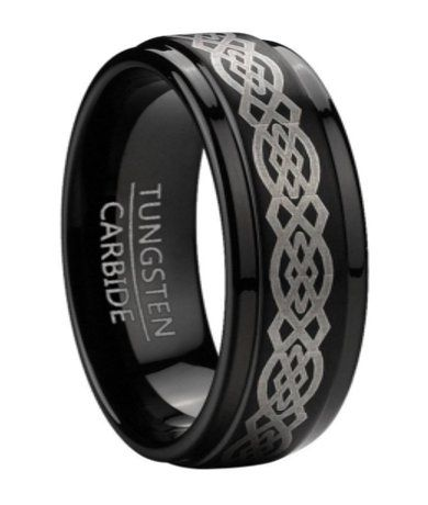 Black Tungsten Men's Celtic Knot Ring with Step Down Edges | 9mm Black metals are awesome!!