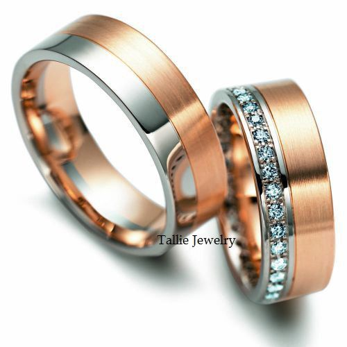 His & Hers Mens Womens Matching 14K White and Rose Gold Two Tone Gold Wedding Bands Rings Set  7mm/6.5mm Wide Sizes 4-12  Free Engraving New...