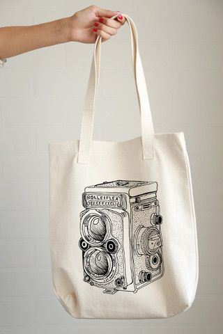 Rolleiflex Camera Drawing Tote Bag